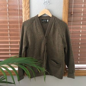 Vintage Warm Brown Wool Cardigan